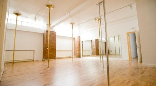London Dance Academy Pole Studio 2. Empty studio view with poles.